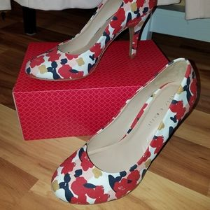 Floral heels shoes